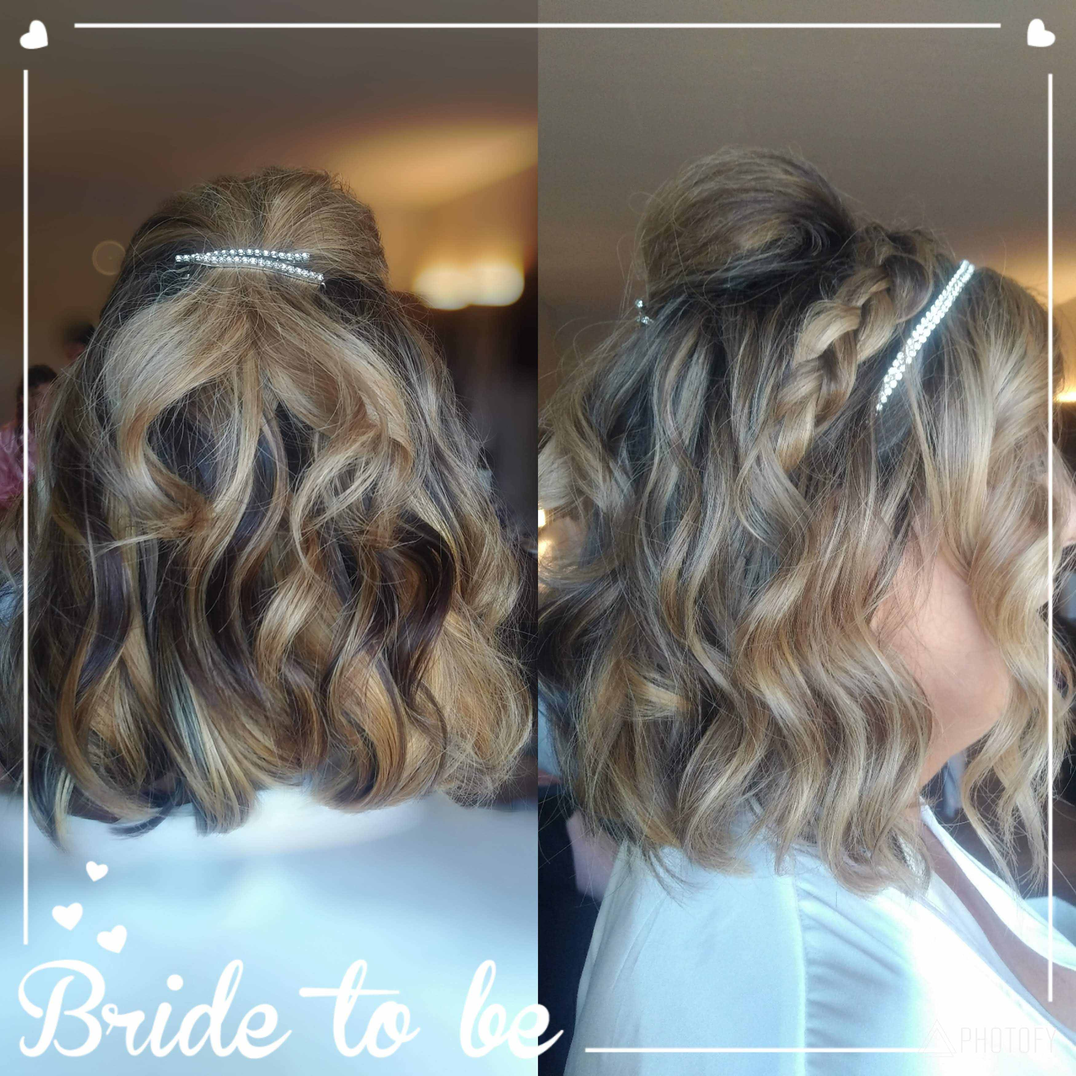 back and side views of wedding up-do