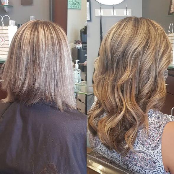 before and after of blonde after hair extensions