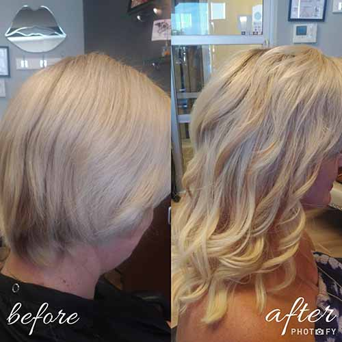 before and after hair extensions with highlights