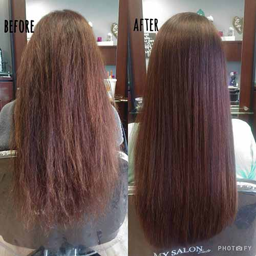 before and after of woman after keratin treatment